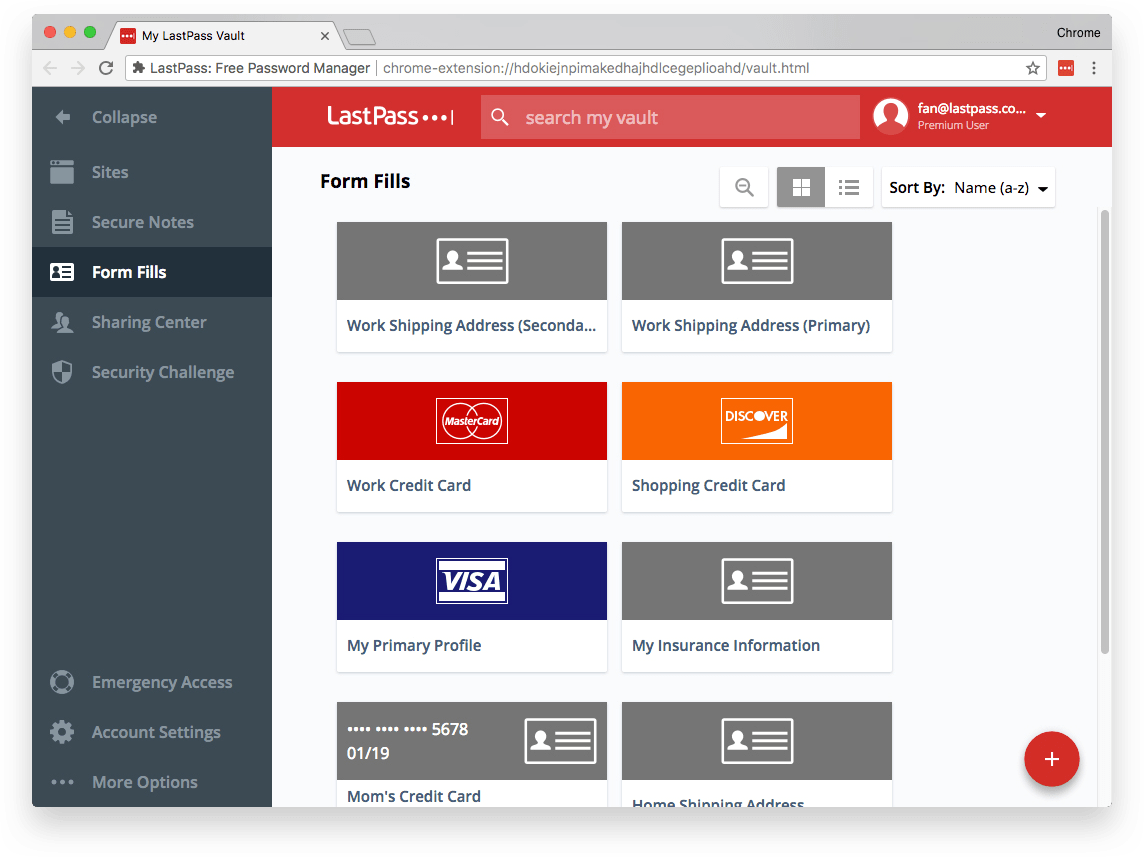 Example of payment form fill profiles in a LastPass digital wallet.