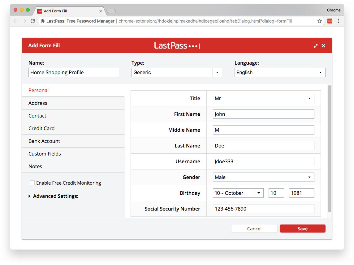 How to create a form fill profile in LastPass example. =