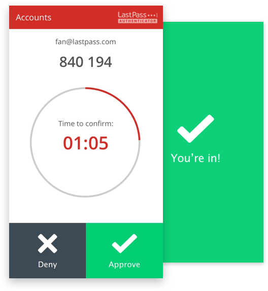 Example of using LastPass two-factor authentication.